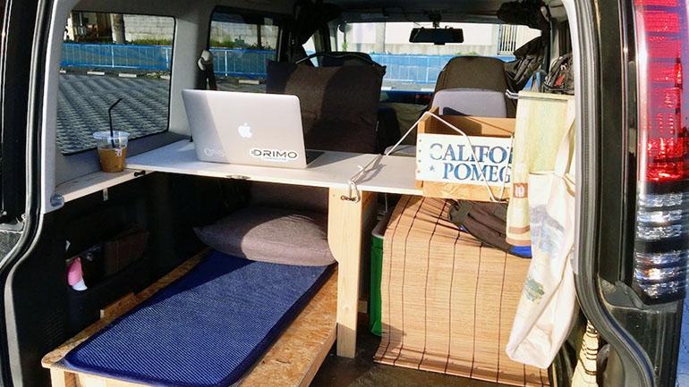 低価格でテーブル制作も!移動式オフィスに変身可能なキャンピングカー【軽バン秘密基地計画#04】