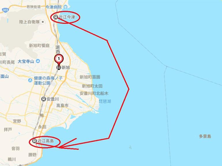 地図 近江今津〜近江高島