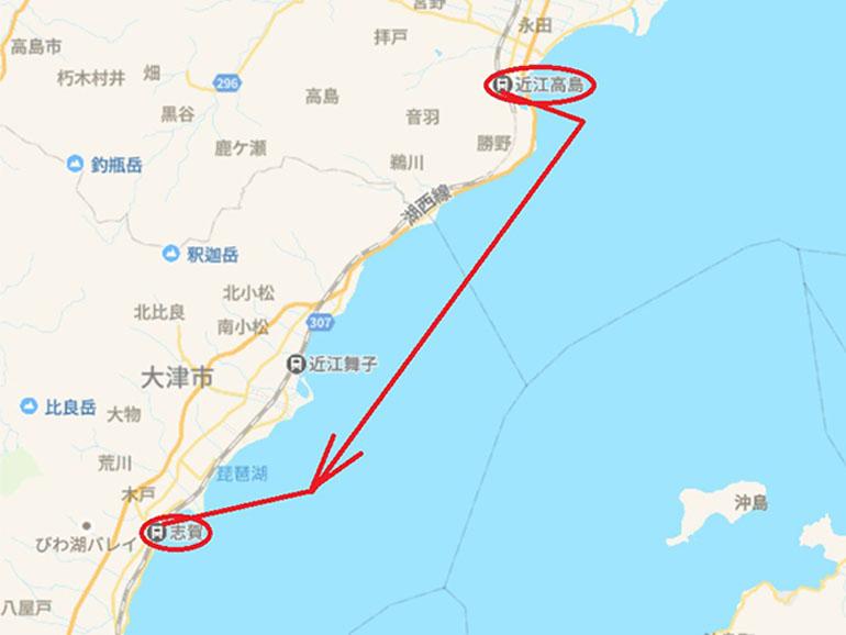 地図 近江高島〜志賀