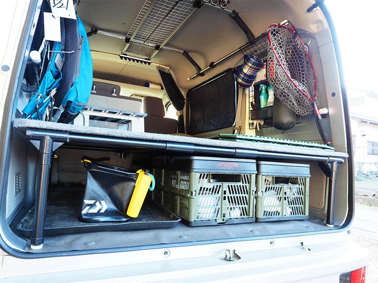 車中泊 釣り道具 収納