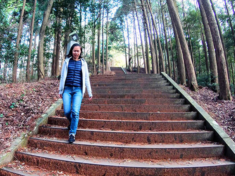 日本一の石段を下山している様子