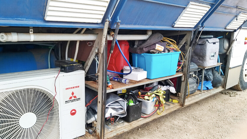 バスコンの外部収納庫