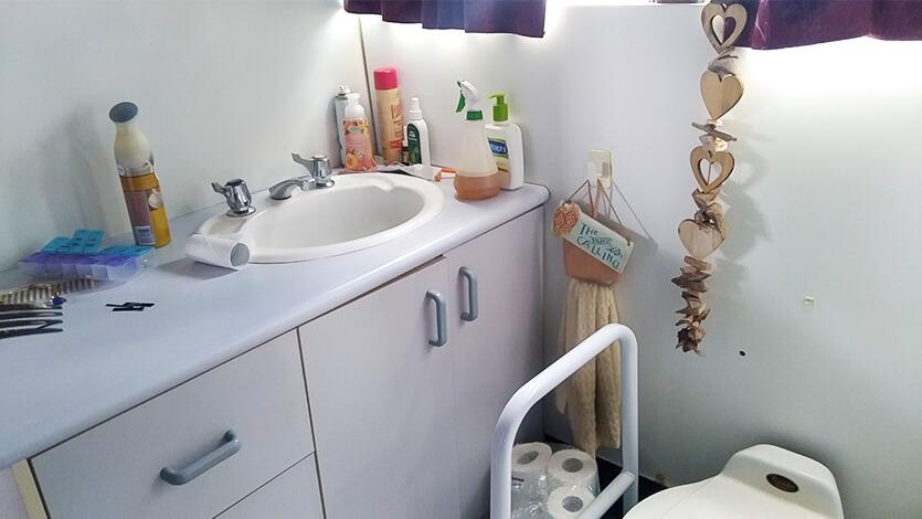 バスコンの洗面台