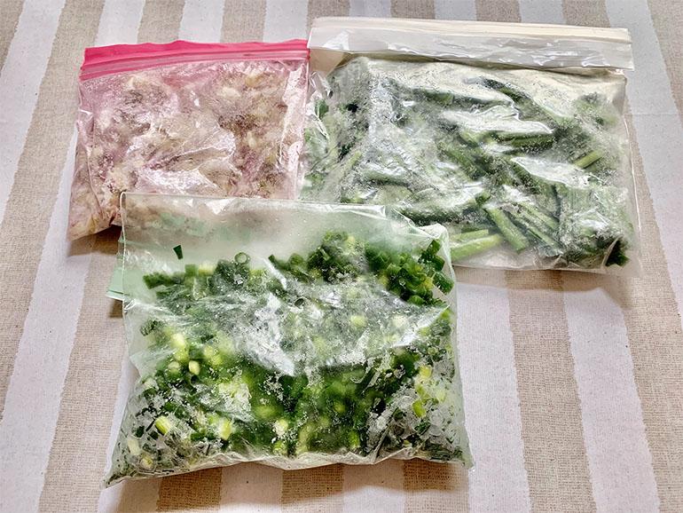 刻んで袋に入った薬味や野菜