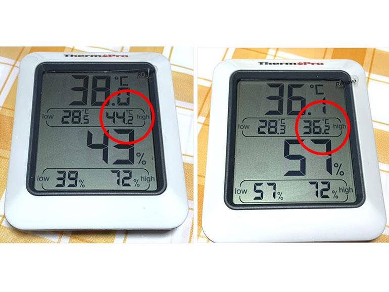 冷蔵庫の内と車内のテーブル上に置いた温度計