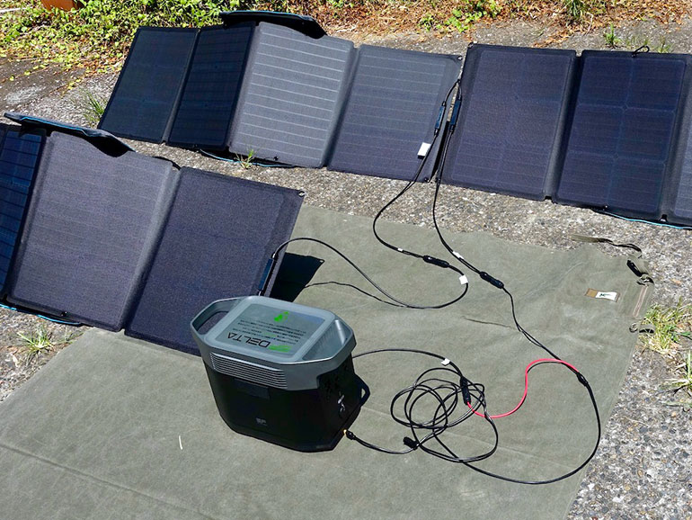ソーラーパネル3枚で充電