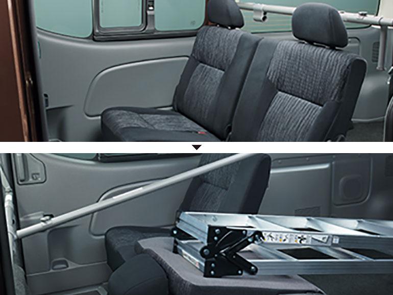 E26キャラバン 後部座席