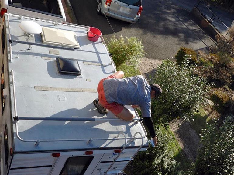 トラキャン屋根 洗車