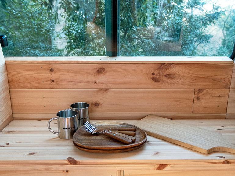 バンライフ  木製の食器