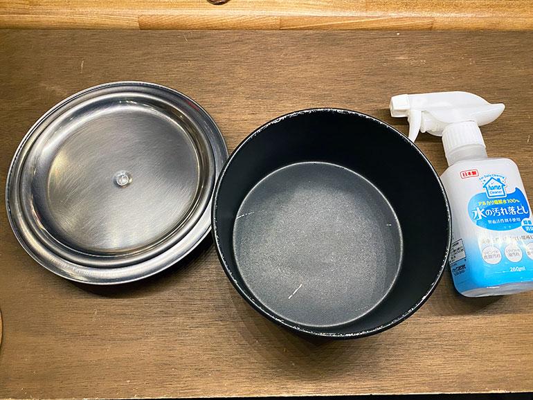 「アルカリ電解水」のスプレーと鍋