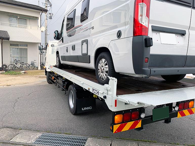 手配した陸送車ではギリギリのサイズ