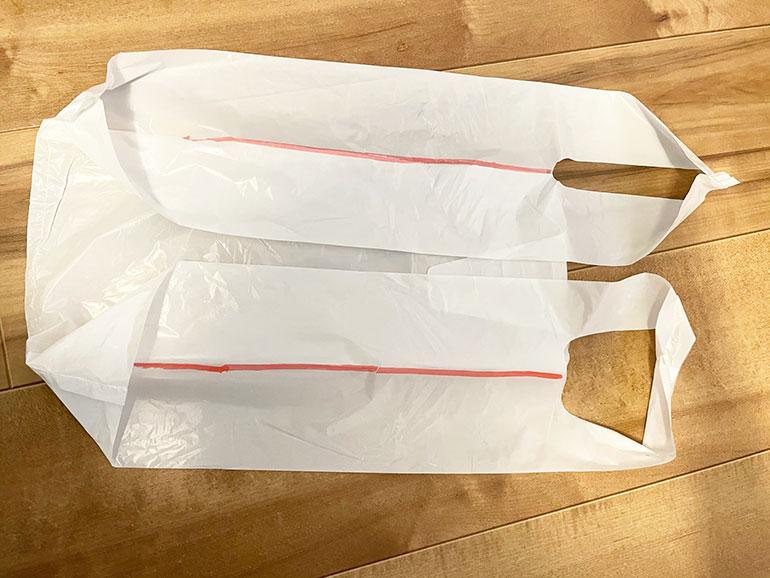 ポリ袋で三角巾1