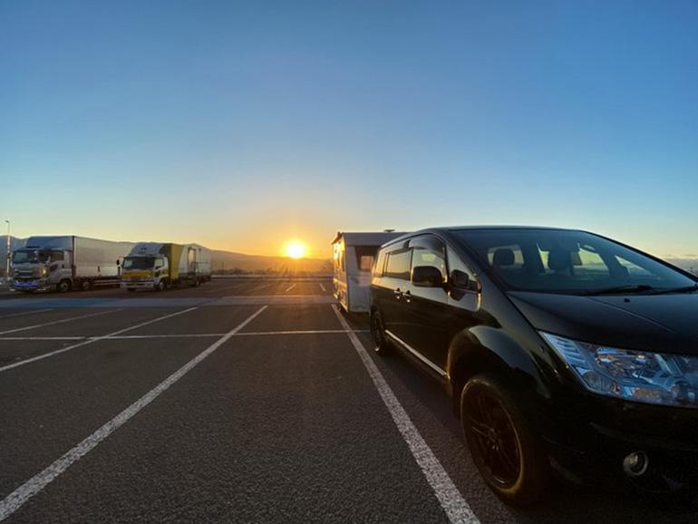 車中泊での朝の風景